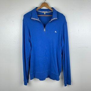 Burberry Mens Blue Quarter Zip Pullover XL